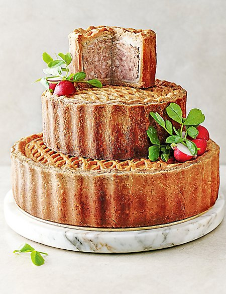savoury wedding cake tiered celebration pork pie serves 30 40 m amp s 19683