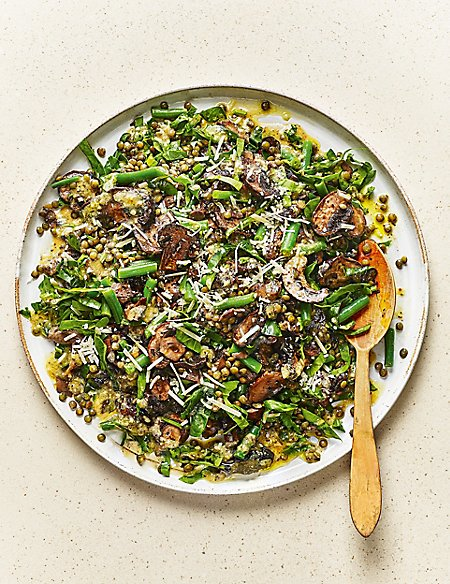 From The Deli Trio of Roasted Mushrooms & Fine Bean Salad, with a Fresh Rosemary & Garlic Dressing (Serves 6)