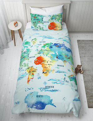 World Map Bedding Map of the World Reversible Bedding Set | M&S