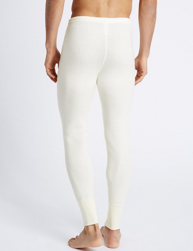 NEW Mens M/&S Extra Warmth Thermal Long Pant White Size XL
