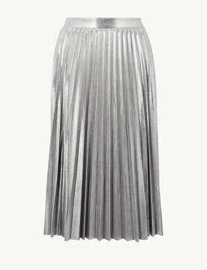 0a51cd06837b Metallic Jersey Pleated Skirt | M&S Collection | M&S