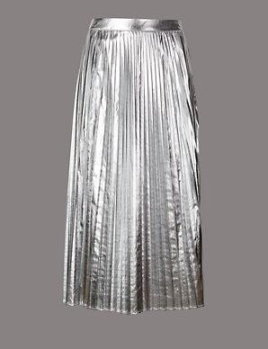06acf4c023 Metallic Pleated A-Line Midi Skirt | Autograph | M&S
