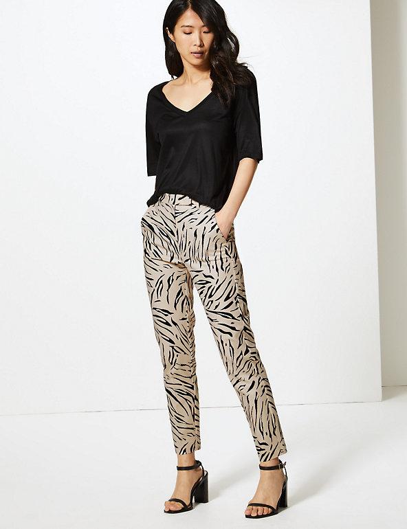 Mia Slim Animal Print 7/8th Trousers M&S plus size