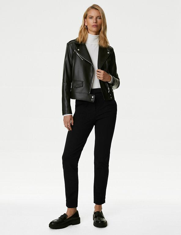 M/&S Ladies Size 14 LONG Trousers Black Slim Leg Suit Smart