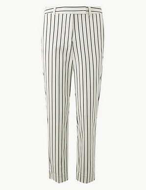 f8d6eade2f955d Mia Slim Striped Ankle Grazer Trousers | M&S Collection | M&S