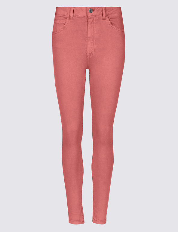 RRP £35.00 M/&S COLLECTION ROSE-PINK Mid Rise Super Skinny Jeans