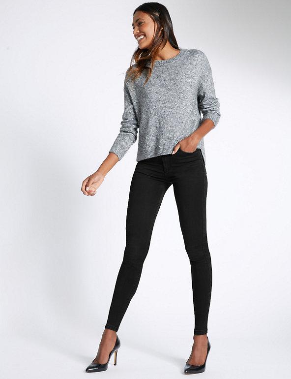 M/&s Mid Rise Super Skinny un ourlet Effilé Jeans ~ Taille 16 Reg ~ gris clair