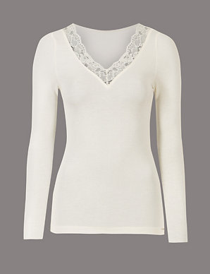 0a256665 Modal Rich Thermal Long Sleeve Top with Silk | Autograph | M&S