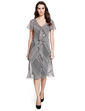 d7b5c8c06b692 Monochrome Tribal Bali Print Fit & Flare Dress | Per Una | M&S