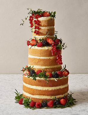 Naked Vanilla Wedding Cake 3 Tiers Serves 42