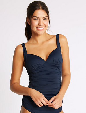 M/&S Padded Plunge Tankini Top Navy Size 18