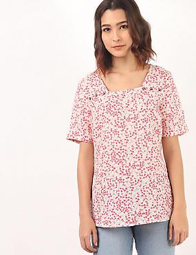 Linen Mix Floral Print Square Neck Tunic