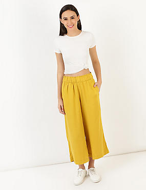 Linen Mix Plain Regular Fit Trouser