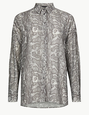 182f7ff75a10 Oversized Animal Print Long Sleeve Shirt | M&S Collection | M&S