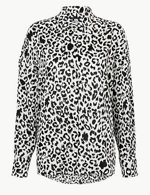 ec5c3ccdaae6 Oversized Satin Animal Print Shirt | M&S Collection | M&S