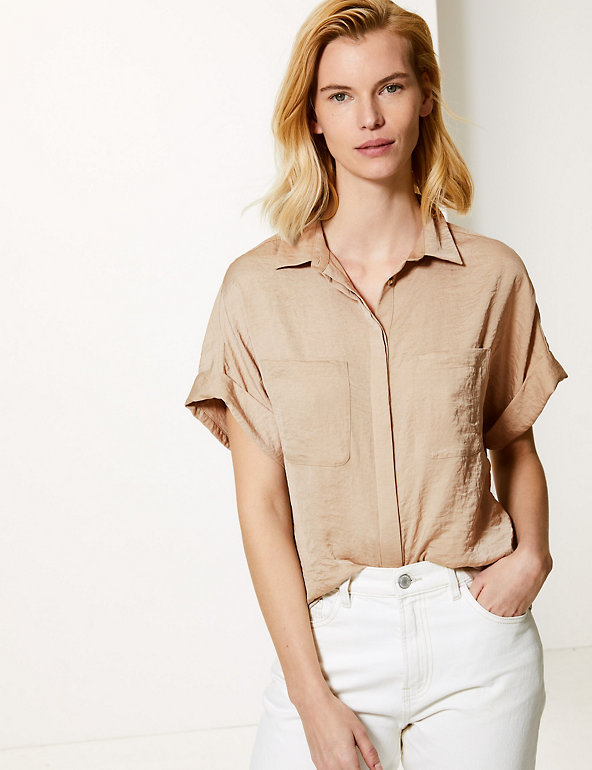 Oversized Satin Short Sleeve Shirt