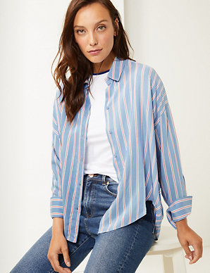 fc4719c2e6f0 Oversized Striped Shirt | M&S Collection | M&S
