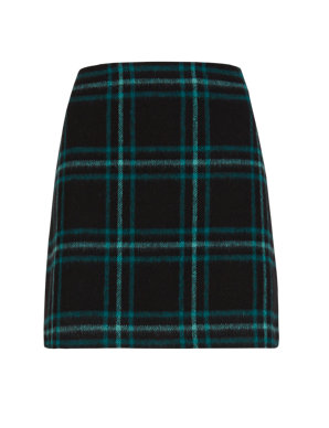 db2c13aa2 PETITE Brushed Check A-Line Mini Skirt with Wool | M&S Collection | M&S