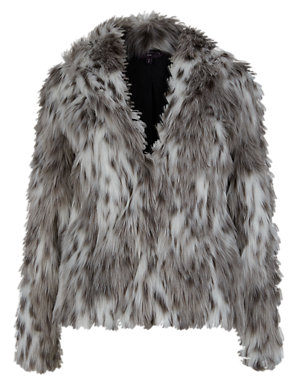 d25d19cef PETITE Faux Fur Long Sleeve Coat