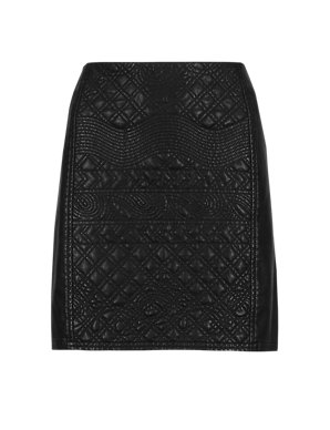 5ccc385d4d48 PETITE Faux Leather Quilted A-Line Mini Skirt | M&S Collection | M&S