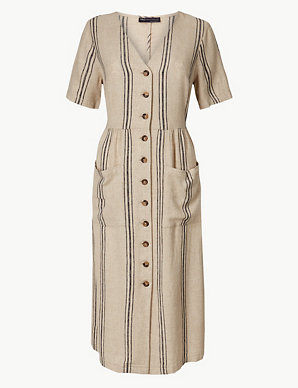 e41a376c62 PETITE Linen Rich Striped Waisted Midi Dress