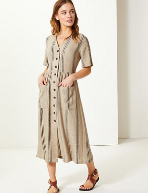 491be284d22 PETITE Linen Rich Striped Waisted Midi Dress