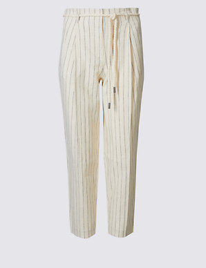 shop for how to get professional design PETITE Linen Rich Tapered Leg Trousers