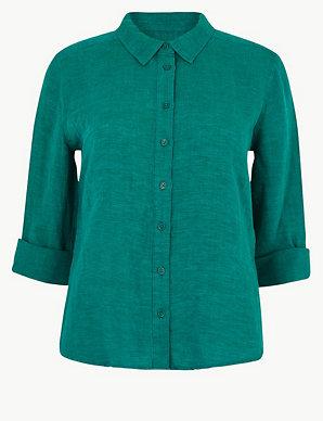 594158237e PETITE Pure Linen Button Detailed Shirt   M&S Collection   M&S