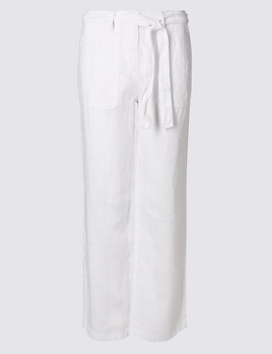 newest various styles elegant shape PETITE Pure Linen Wide Leg Trousers