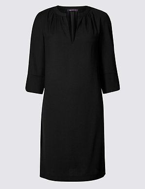 a5341aaac528 PETITE Satin 3/4 Sleeve Shift Dress   M&S Collection   M&S