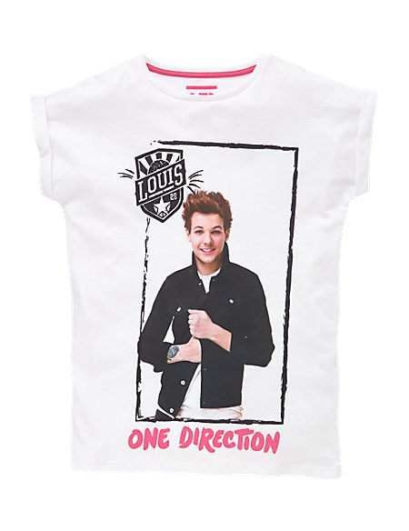 Pure Cotton One Direction Louis Girls T-Shirt (5-14 Years)