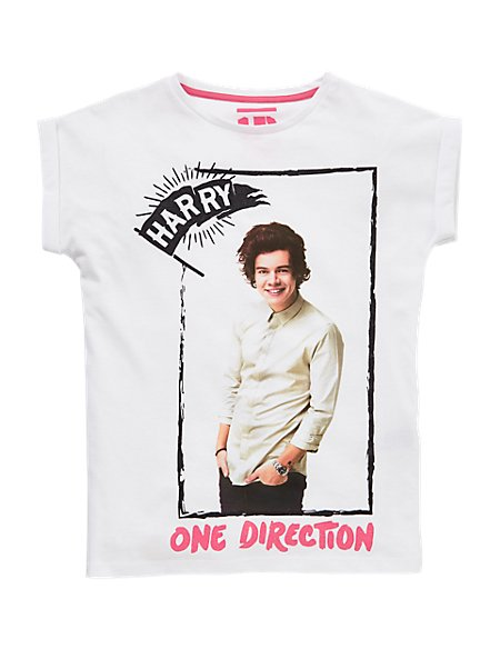 Pure Cotton One Direction Harry Girls T-Shirt (5-14 Years)