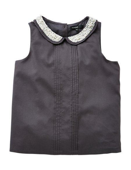 Pure Cotton Embellished Collar Girls Vest Top (5-14 Years)