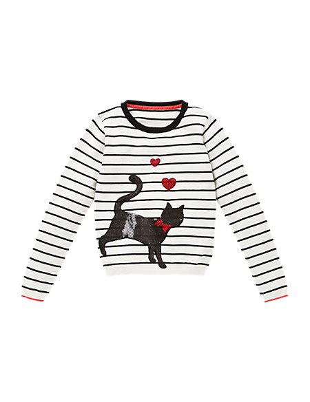 Pure Cotton Cat Striped Jumper (5-14 Years)