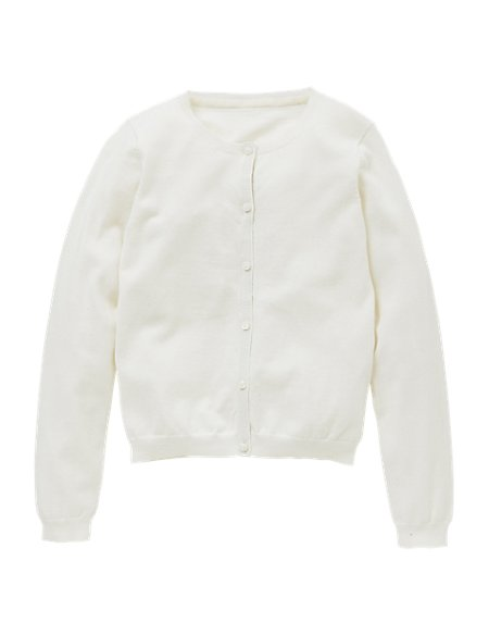 Cotton Rich Crew Neck Cardigan (5-14 Years)