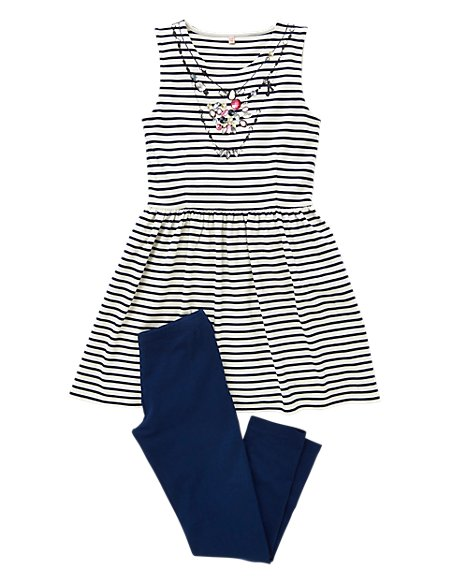2 Piece Jewel Embellished Striped Tunic & Leggings Outfit (5-14 Years)