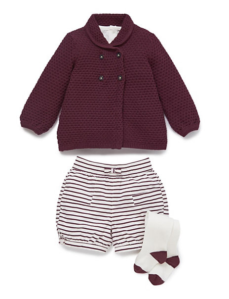 4 Piece Knitted Cardigan, T-shirt, Shorts & Tights Outfit