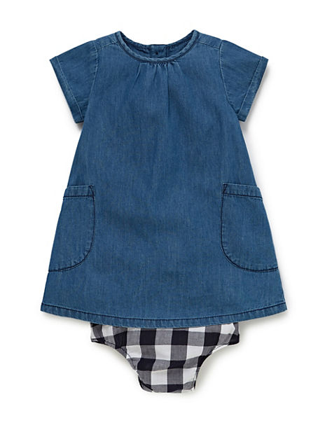 2 Piece Pure Cotton Chambray Dress & Knickers Outfit