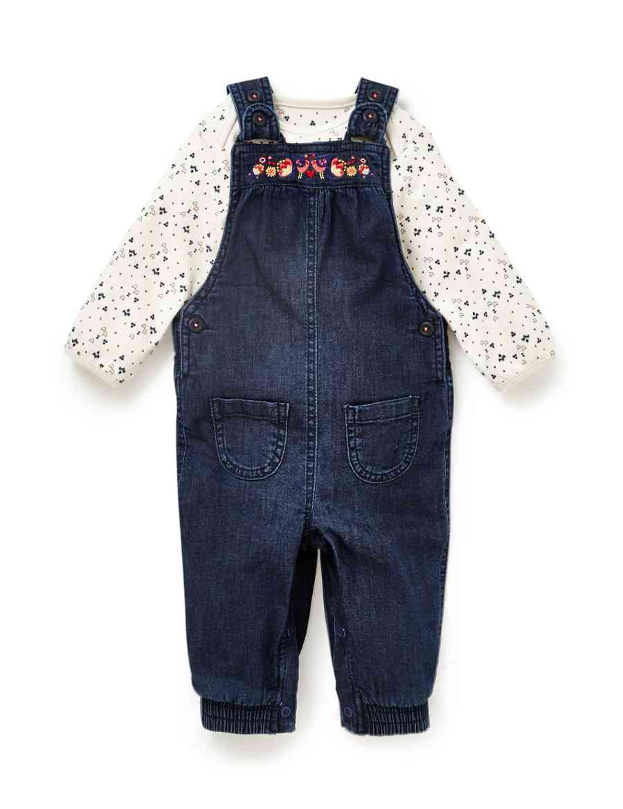 dd933e8739 Product images. Skip Carousel. 2 Piece Cotton Rich Bodysuit   Embroidered  Denim Dungaree Outfit
