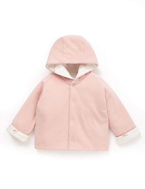 Pure Cotton Hooded Floral Reversible Jacket
