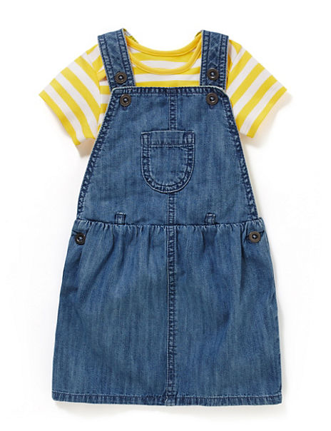2 Piece Pure Cotton Pinafore & Bodysuit Outfit