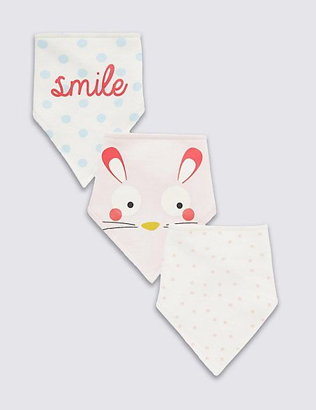 3 Pack Pure Cotton Bunny Assorted Dribble Bibs