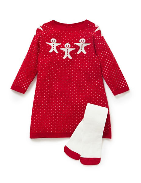 Knitted Ginger Bread Dress & Tights Outfit