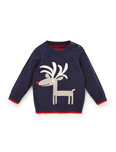Cotton Rich Reindeer Intarsia Christmas Jumper with Wool