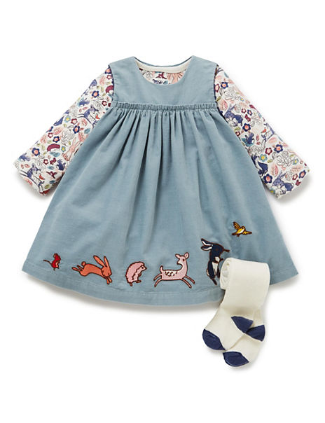 3 Piece Cotton Rich Appliqué Corduroy Pinafore Dress, Bodysuit & Tights Outfit