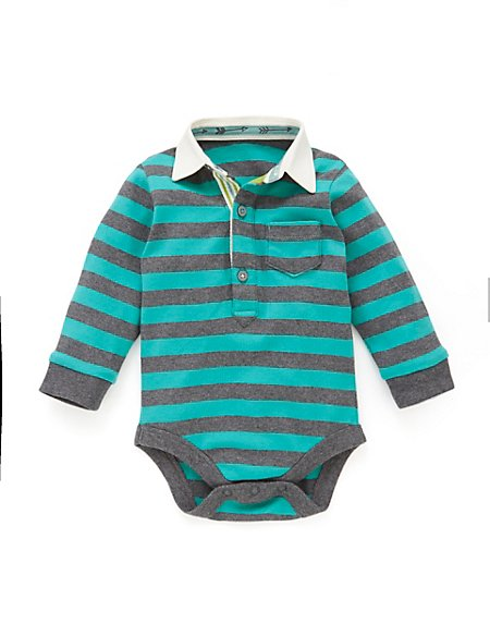 Pure Cotton Striped Rugby Bodysuit