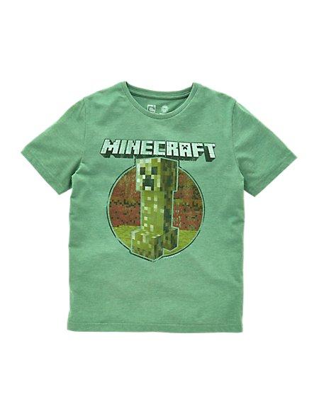 Minecraft Creeper Print T Shirt 5 14 Years M S