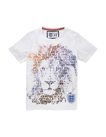 England FA Pure Cotton 3 Lions Boys T-Shirt (5-14 Years)