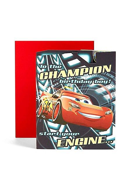 Pop-Up Cars™ Racing Track Scene Birthday Card