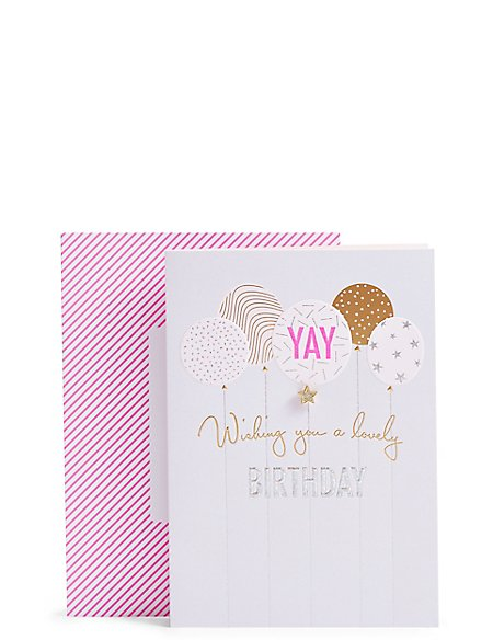 Sparkling Balloons Birthday Card